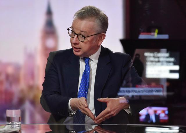 Britain's Chancellor of the Duchy of Lancaster Michael Gove appears on BBC TV's The Andrew Marr Show in London, Britain October 18, 2020. Picture taken through glass. Jeff Overs/BBC/Handout via REUTERS