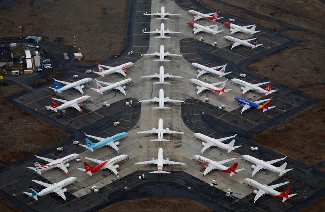 FILE PHOTO: Grounded Boeing 737 MAX aircraft are seen parked at Grant County International Airport in Moses Lake, Washington, U.S. November 17, 2020.  REUTERS/Lindsey Wasson/File Photo