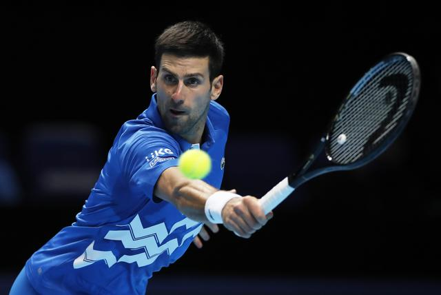 Tennis - ATP Finals - The O2, London, Britain - November 21, 2020  Serbia's Novak Djokovic in action during his semi-final match against Austria's Dominic Thiem Action Images via Reuters/Paul Childs