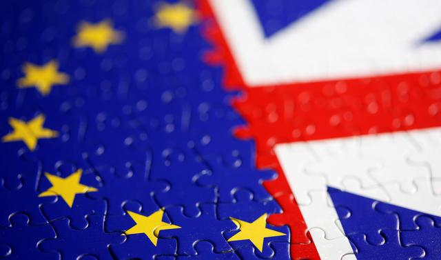 FILE PHOTO: Puzzle with printed EU and UK flags is seen in this illustration taken November 13, 2019. REUTERS/Dado Ruvic/Illustration
