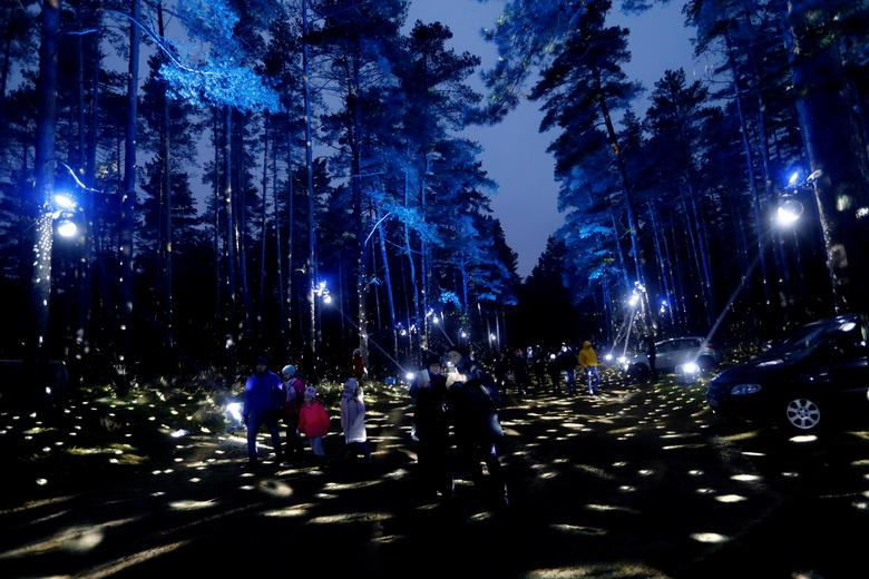 People walk in the illuminated city forest in Riga, Latvia, December 20, 2020. REUTERS/Ints Kalnins