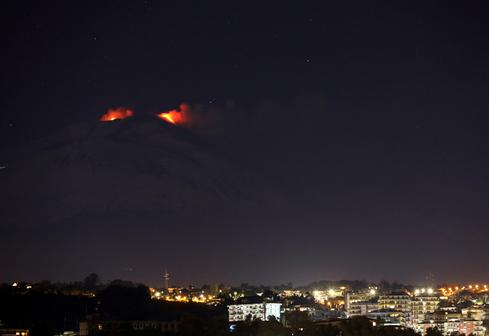 Italy's Mount Etna shoots lava into night sky