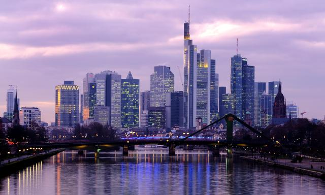 FILE PHOTO: The skyline with its banking district is photographed in Frankfurt, Germany, January 7, 2020.  REUTERS/Kai Pfaffenbach
