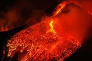 Lava and ash spew from Italy's Mount Etna