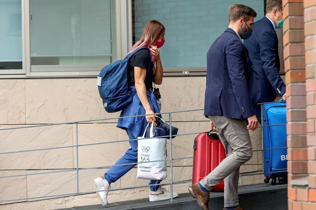 Belarusian sprinter Krystsina Tsimanouskaya enters the Polish embassy in Tokyo, Japan, August 2, 2021. REUTERS/Kim Kyung-Hoon