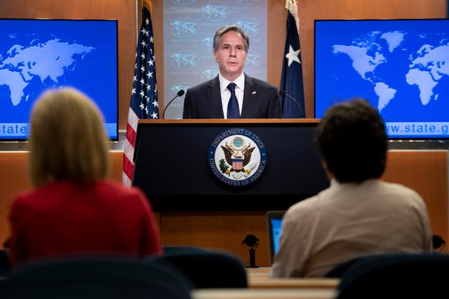 U.S. Secretary of State Antony Blinken speaks about refugee programs for Afghans who aided the U.S. during a briefing at the State Department in Washington, DC, U.S. August 2, 2021. Brendan Smialowski/Pool via REUTERS