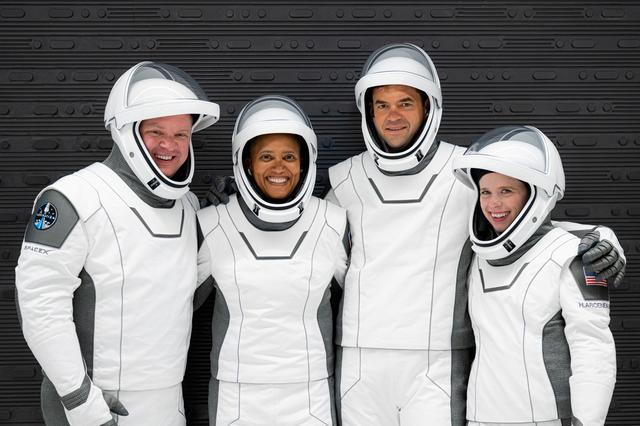The Inspiration4 crew of Chris Sembroski, Sian Proctor, Jared Isaacman and Hayley Arceneaux poses while suited up for a launch rehearsal in Cape Canaveral, Florida September 12, 2021. Picture taken September 12, 2021.  Inspiration4/John Kraus/Handout via REUTERS