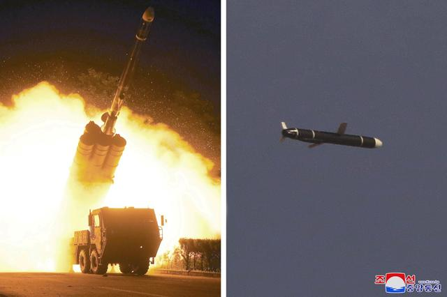 FILE PHOTO: The Academy of National Defense Science conducts long-range cruise missile tests in North Korea, as pictured in this combination of undated photos supplied by North Korea's Korean Central News Agency (KCNA) on September 13, 2021.   KCNA via REUTERS